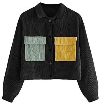 Women's Dual Pocket Corduroy Jacket Colorblock Button Down Crop Jacket Outwear
