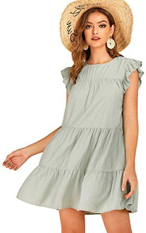 Women's Ruffle Butterfly Sleeve Solid Babydoll Dress