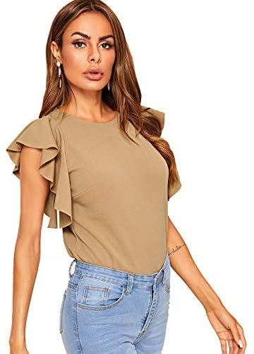 Women's Stretchy Flutter Sleeve Slim Solid Elegant Blouse Top