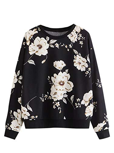 Women's Casual Floral Print Long Sleeve Pullover Tops Baby Blue