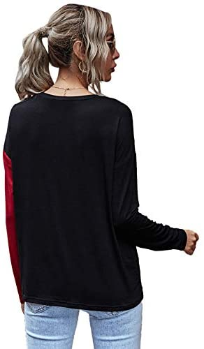 Women's Long Sleeve Colorblock Causal Cotton Pullover Blouse