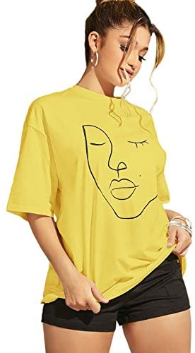Women's Figure Graphic Oversized Loose Half Sleeve Tee Shirt