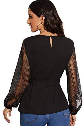 Women's Sheer Mesh Lace Long Sleeve Belted Elegant Workwear Blouse Shirt Top