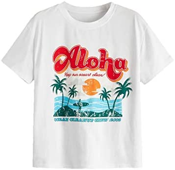 Women's Summer Tropical Graphic T Shirt for Beach Casual Letter Print Tee Short Sleeve Round Neck Top