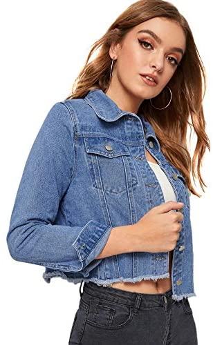 Women's Casual Long Sleeve Pockets Washed Distressed Denim Jean Jacket