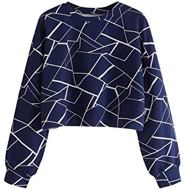 Women's Long Sleeve Geometric Print Causal Crop Pullover Sweatshirt