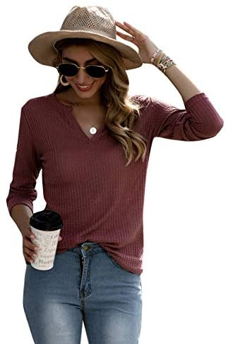 Women's Notched V Neck Long SleeveT-Shirt Solid Waffle Knit Tee Tops Redwood