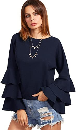 Women's Round Neck Ruffle Long Sleeve Blouse