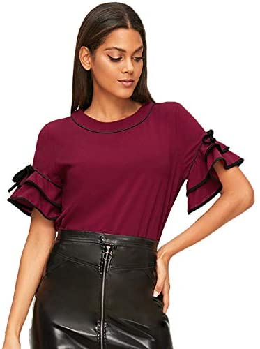 Women's Short Sleeve Casual Ruffle Blouse Shirt Top