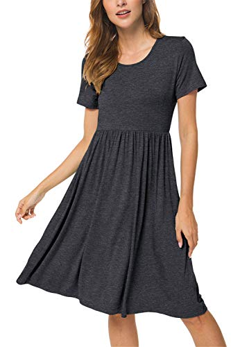 Women Summer Casual Short Sleeve Dresses Empire Waist Dress with Pockets