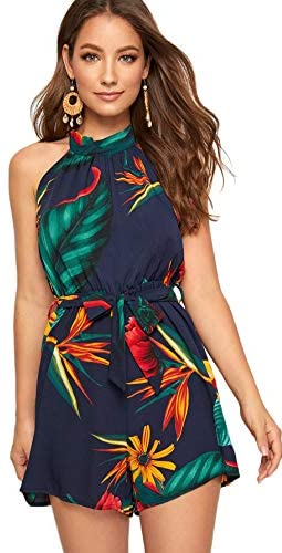 Women's Tropical Floral Tie Back Belted Halter Romper Boho Sleeveless Playsuit Summer Jumpsuit Casual Jumper