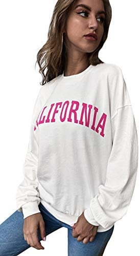 Women's Letter Graphic Print Long Sleeve Crewneck Casual Sweatshirt