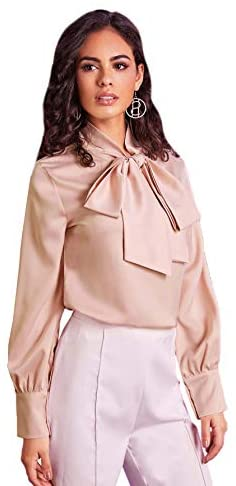 Women's Elegant Bow Tie Neck Lantern Sleeve Button Ruffle Curve Working Blouse Tops Shirt