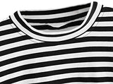 Women's Striped Sweatshirt Long Sleeve Round Neck Drop Shoulder Pullover Top