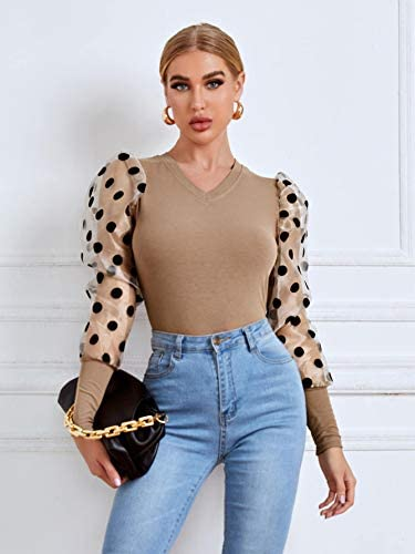Women's Polka Dots Mesh Puff Long Sleeve V Neck Slim Fit Tops Blouse Shirts