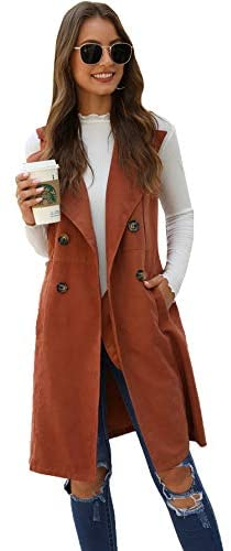 Women's Double Breasted Long Vest Jacket Casual Sleeveless Pocket Outerwear Longline