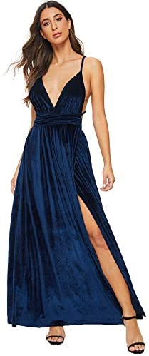 Women's Sexy Velvet Deep V Neck Backless Maxi Party Evening Dress