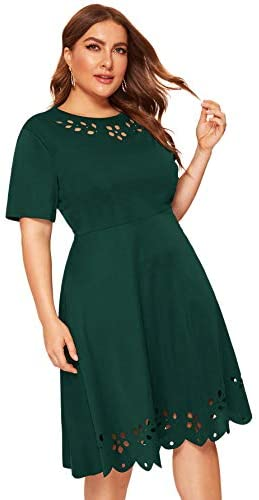 Women's Plus Size Cut Out A Line Swing Stretchy Midi Dresses