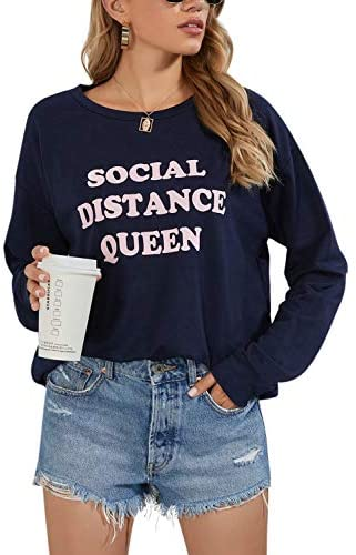 BMJL Women's Crewneck Sweatshirt Graphic Pullovers Slogan Long Sleeve Tops Message Shirt