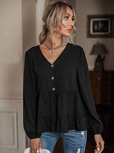 Women's Long Sleeve Babydoll Tops Button Front V Neck Ruffle Hem Peplum Blouse