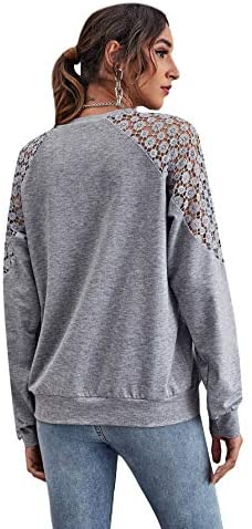 Women's Contrast Lace Long Sleeve Tee Crewneck Casual Pullover Tops Shirts