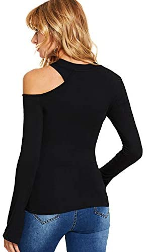 Women's Sexy One Shoulder Long Sleeve Slim Fit Cut Out Tee T-Shirts