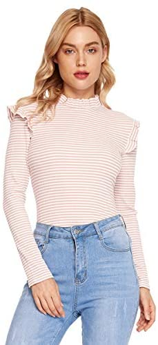Women's Slim Fit Frilled Ruffles Shoulder Long Sleeve Blouse Top Tee
