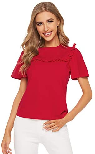 Women's Short Sleeve Cut Out Embroidery Ruffle Cotton Summer Blouse Top
