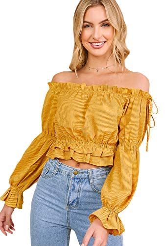 Women's Sexy Striped Off Shoulder Long Sleeve Shirt Ruffle Trim Blouses Top