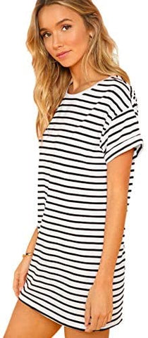 Women's Casual Loose Striped Mini Dress Short Sleeve T-Shirt Dresses