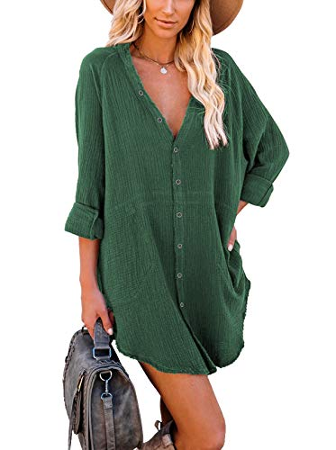 Long Sleeve Button Down Tunic Dresses with Pockets