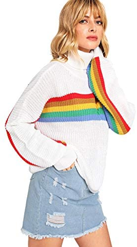 Women's High Neck Batwing Sleeve Striped Rainbow Pullovers Sweaters