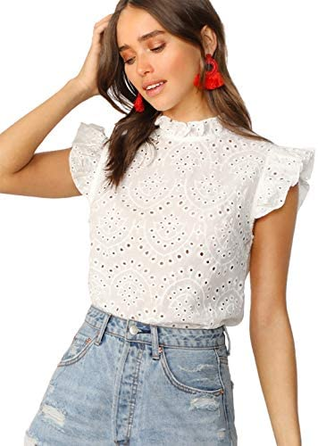 Women's Sleeveless Ruffle Stand Collar Embroidery Button Slim Cotton Blouse Top