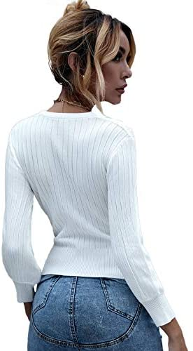 Women's Long Sleeve V Neck Wrap Front Tied Surplice Sweater Tops White One Size