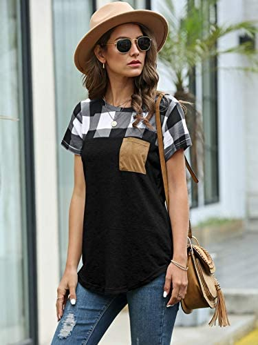 Women's Colorblock Gingham Shirt Short Sleeve Crew Neck T-Shirt Tee Tops with Pocket