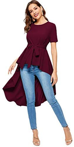 Women's Irregular Hem Short Sleeve Belted Flare Peplum Ruffle Blouse Shirts Top