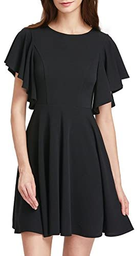 Women's Stretchy A Line Swing Flared Skater Cocktail Party Dress Black