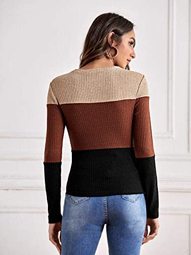Women's Colorblock Long Sleeve T Shirt Round Neck Rib Knit Tee Tops
