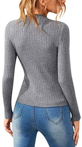 Women's Mock Neck Long Sleeve Sweaters Solid Ribbed-Knit Pullover Tops