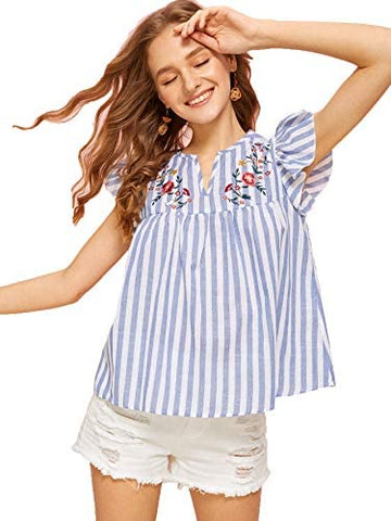 Women's V Neck Striped Floral Ruffle Embroidery Cotton Summer Boho Blouse Top