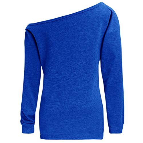 Women Off Shoulder Sweatshirt Slouchy Shirt Long Sleeve Pullover Tops Blue