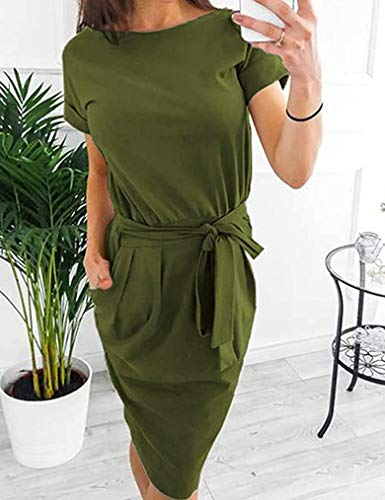 Short Sleeve Midi Shift Pencil Dress with Pocket Army Green