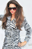 Belted Zebra Print Trench Coat