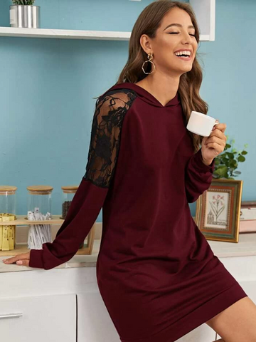 CONTRAST LACE HOODED SWEATSHIRT DRESS