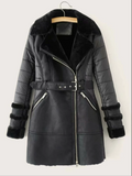 Self Tie Faux Fur Lined PU Leather Coat