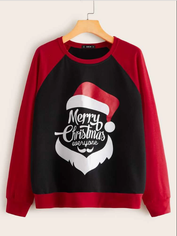 Santa Claus Christmas New Year Slogan Graphic Color Block Pullover