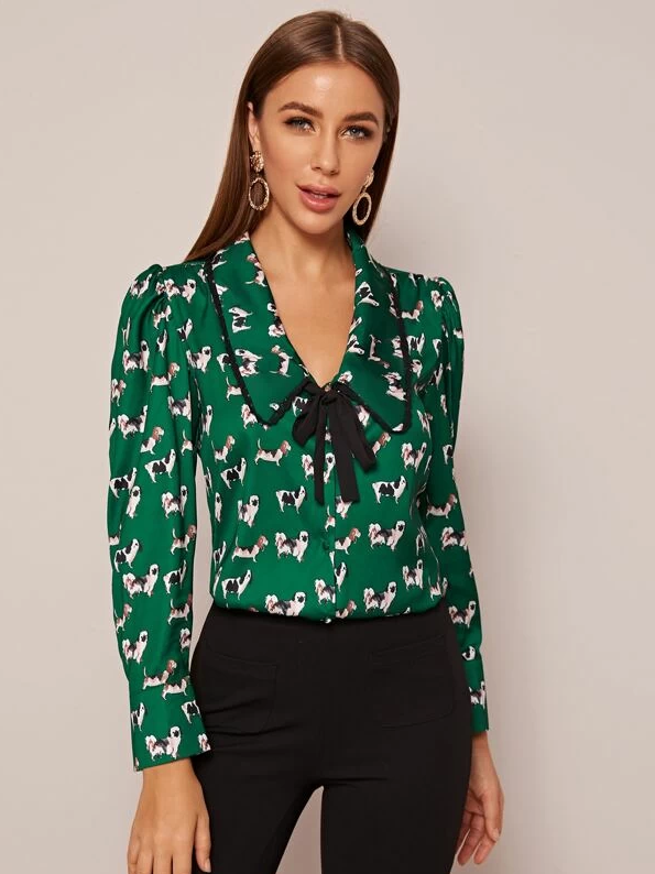 Tie Neck Allover Dog Print Blouse