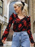 Women's Ruffle Trim Floral V Neck Long Sleeve Casual Blouse Tops Black