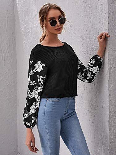 Women's Long Sleeve Round Neck Floral Colorblock Causal Pullover Blouse