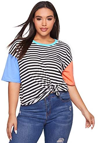 Women's Colorblock Summer Contrast Neck and Sleeve Casual Striped Tee T-shirt Top